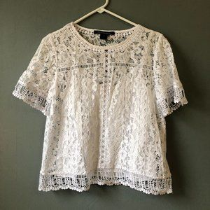 French Connection White Lace Top